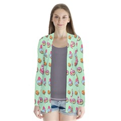 Sweet Pattern Drape Collar Cardigan