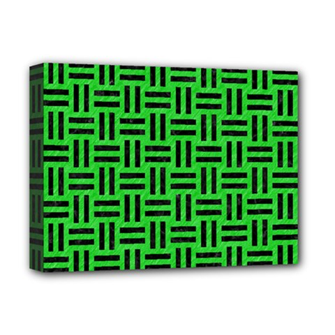 Woven1 Black Marble & Green Colored Pencil (r) Deluxe Canvas 16  X 12