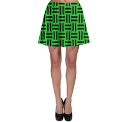 Woven1 Black Marble & Green Colored Pencil (r) Skater Skirt