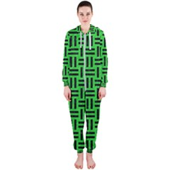 Woven1 Black Marble & Green Colored Pencil (r) Hooded Jumpsuit (ladies)
