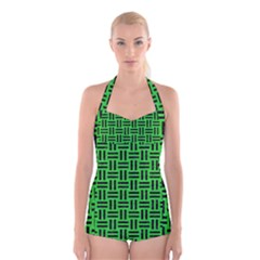 Woven1 Black Marble & Green Colored Pencil (r) Boyleg Halter Swimsuit