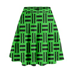 Woven1 Black Marble & Green Colored Pencil (r) High Waist Skirt