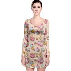 Sweet Pattern Long Sleeve Bodycon Dress