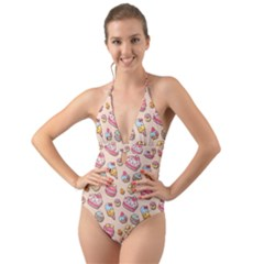 Sweet Pattern Halter Cut Out One Piece Swimsuit