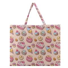 Sweet Pattern Zipper Large Tote Bag