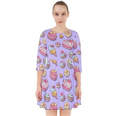 Sweet Pattern Smock Dress