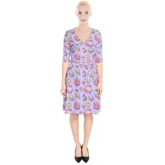 Sweet Pattern Wrap Up Cocktail Dress
