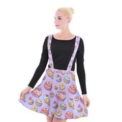 Sweet Pattern Suspender Skater Skirt