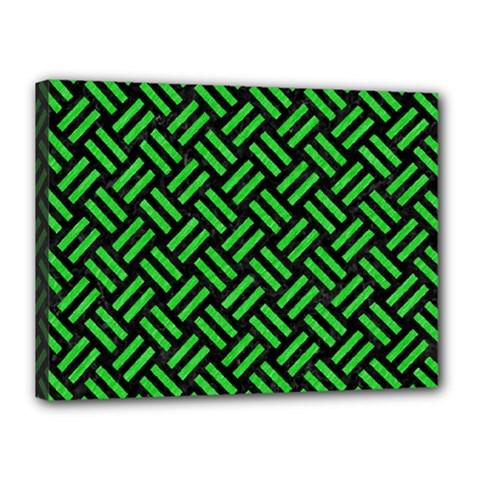 Woven2 Black Marble & Green Colored Pencil Canvas 16  X 12