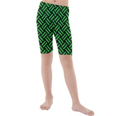 Woven2 Black Marble & Green Colored Pencil Kids  Mid Length Swim Shorts