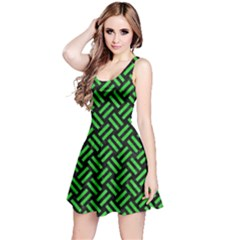 Woven2 Black Marble & Green Colored Pencil Reversible Sleeveless Dress
