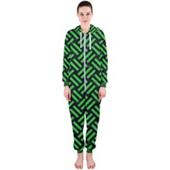 Woven2 Black Marble & Green Colored Pencil Hooded Jumpsuit (ladies)