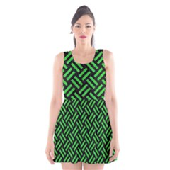 Woven2 Black Marble & Green Colored Pencil Scoop Neck Skater Dress