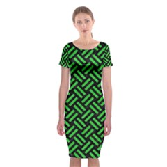 Woven2 Black Marble & Green Colored Pencil Classic Short Sleeve Midi Dress