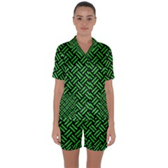 Woven2 Black Marble & Green Colored Pencil Satin Short Sleeve Pyjamas Set