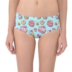 Sweet Pattern Mid Waist Bikini Bottoms