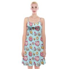 Sweet Pattern Spaghetti Strap Velvet Dress