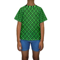 Woven2 Black Marble & Green Colored Pencil (r) Kids  Short Sleeve Swimwear