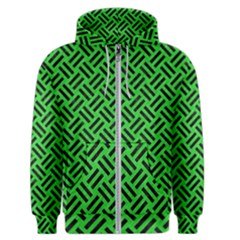Woven2 Black Marble & Green Colored Pencil (r) Men s Zipper Hoodie
