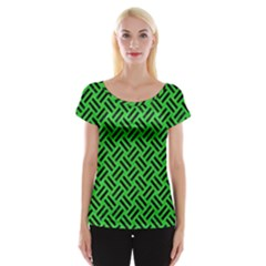 Woven2 Black Marble & Green Colored Pencil (r) Cap Sleeve Tops