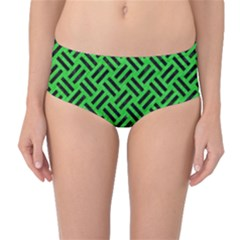 Woven2 Black Marble & Green Colored Pencil (r) Mid Waist Bikini Bottoms