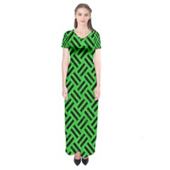 Woven2 Black Marble & Green Colored Pencil (r) Short Sleeve Maxi Dress