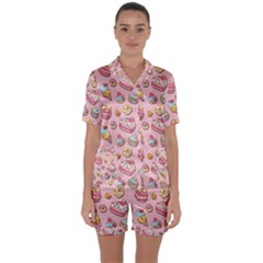 Sweet Pattern Satin Short Sleeve Pyjamas Set