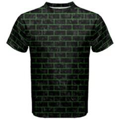 Brick1 Black Marble & Green Leather Men s Cotton Tee