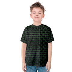 Brick1 Black Marble & Green Leather Kids  Cotton Tee