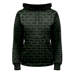 Brick1 Black Marble & Green Leather Women s Pullover Hoodie
