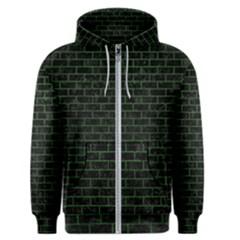 Brick1 Black Marble & Green Leather Men s Zipper Hoodie