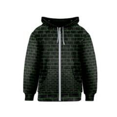 Brick1 Black Marble & Green Leather Kids  Zipper Hoodie