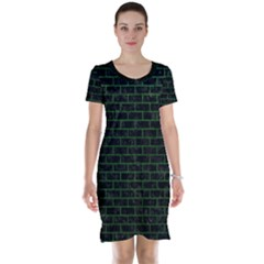 Brick1 Black Marble & Green Leather Short Sleeve Nightdress