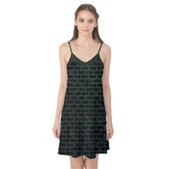 Brick1 Black Marble & Green Leather Camis Nightgown
