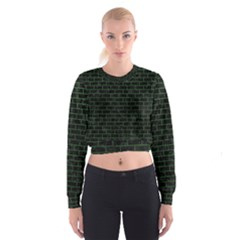 Brick1 Black Marble & Green Leather Cropped Sweatshirt