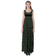 Brick1 Black Marble & Green Leather Empire Waist Maxi Dress
