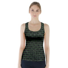 Brick1 Black Marble & Green Leather Racer Back Sports Top