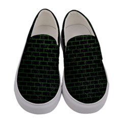 Brick1 Black Marble & Green Leather Women s Canvas Slip Ons