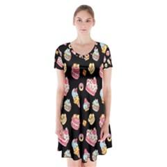 Sweet Pattern Short Sleeve V Neck Flare Dress