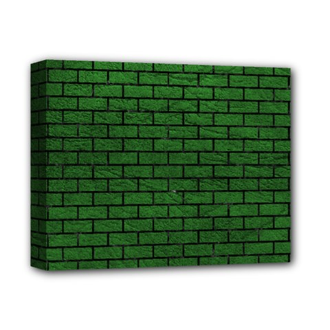 Brick1 Black Marble & Green Leather (r) Deluxe Canvas 14  X 11