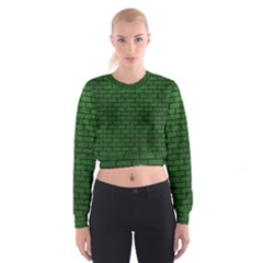 Brick1 Black Marble & Green Leather (r) Cropped Sweatshirt