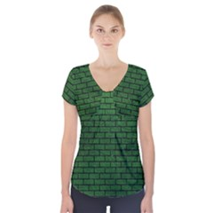 Brick1 Black Marble & Green Leather (r) Short Sleeve Front Detail Top