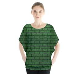 Brick1 Black Marble & Green Leather (r) Blouse