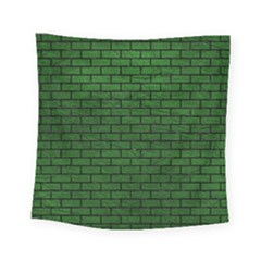 Brick1 Black Marble & Green Leather (r) Square Tapestry (small)