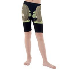 Cute Elephant Kids  Mid Length Swim Shorts
