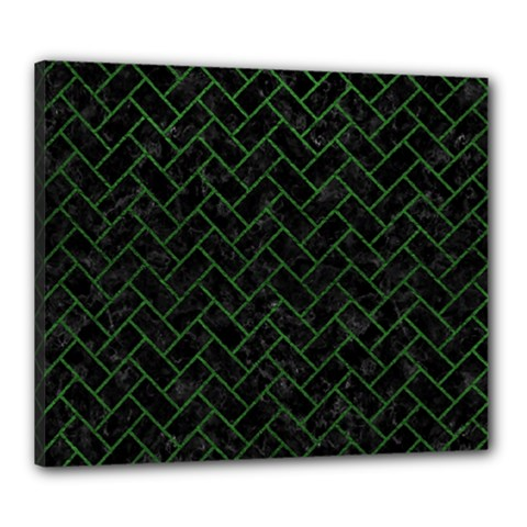 Brick2 Black Marble & Green Leather Canvas 24  X 20