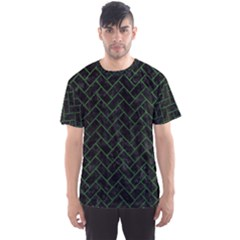 Brick2 Black Marble & Green Leather Men s Sports Mesh Tee
