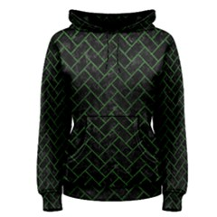 Brick2 Black Marble & Green Leather Women s Pullover Hoodie