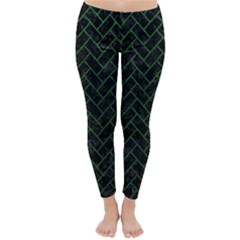 Brick2 Black Marble & Green Leather Classic Winter Leggings