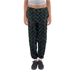 Brick2 Black Marble & Green Leather Women s Jogger Sweatpants